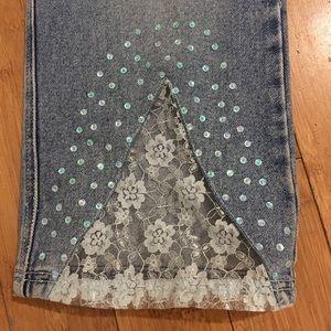 Vintage RVT blue lace/sequins jeans size 8-10.